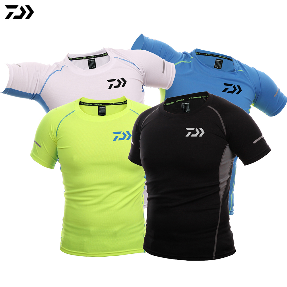 DAIWA Shirt Patchwork Fishing T-shirt Fishing Clothing Men Breathable Quick-Drying Fishing Shirt Short Sleeve Fishing Clothes