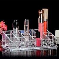 Supply Cosmetics Small Storage Box Dresser Desktop Transparent Acrylic 18 Grid Lipstick Nail Polish Lip Glaze Lip Gloss x
