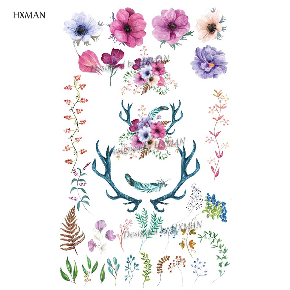 HXMAN Flower Temporary Tattoo Sticker Waterproof Fashion Women Arm Fake Face Body Art 9.8X6cm Kids Adult Hand Tatoo P-044
