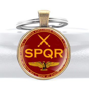 Classic Senātus Populusque Rōmānus Roman Empire SPQR Pattern Glass Dome Keychains Men Women Keyring Jewelry Gifts image
