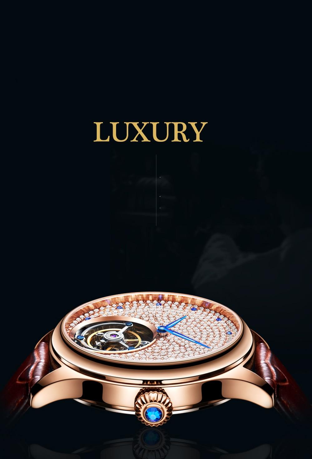 Guanqin relógio original tourbillon safira mecânica dos