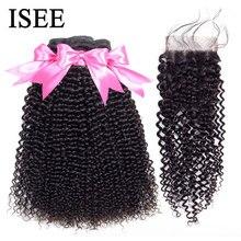 Moğol Kinky kıvırcık insan saçı demetleri ile kapatma ISEE saç ekleme kapatma ile 3 demetleri Remy kıvırcık demetleri ile Frontal