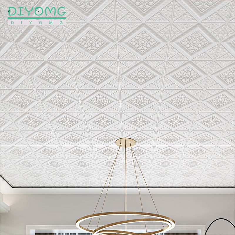 Waterproof Self-adhesive Roof Ceiling Wallpaper 3D Stereo PVC Wall Sticker Living Room TV Background Decor Ceiling Contact Paper