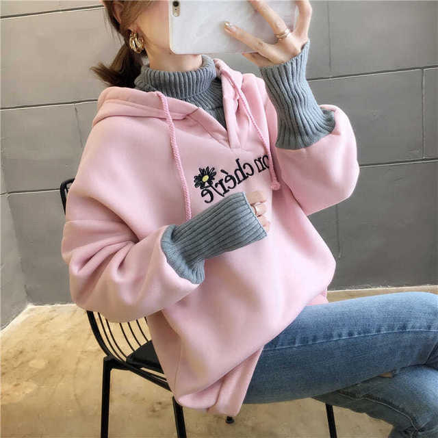 Autumn and Winter New Korean Version of Women's Hooded High Collar Fake Two Fashionable Tops with Plush Thickening for Students 3