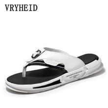 VRYHEID Estate di Lusso di Marca 2020 Nuovi Uomini di Pantofole di Alta Qualità di Vibrazione del Cuoio di Cadute di Estate Della Spiaggia di Modo Sandali Scarpe Per uomini