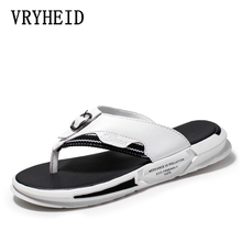 VRYHEID Summer Luxury Brand 2020 New Mens Slippers High Quality Leather Flip Flops Summer Fashion Beach Sandals Shoes For men