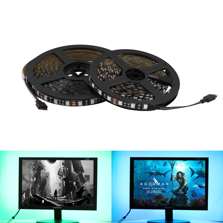 12V Led Strip RGB Waterproof SMD 5050 Black PCB Warm White 1M 2M DC 12V RGB Led Strip Light Tape Lamp Diode Ribbon TV Backlight