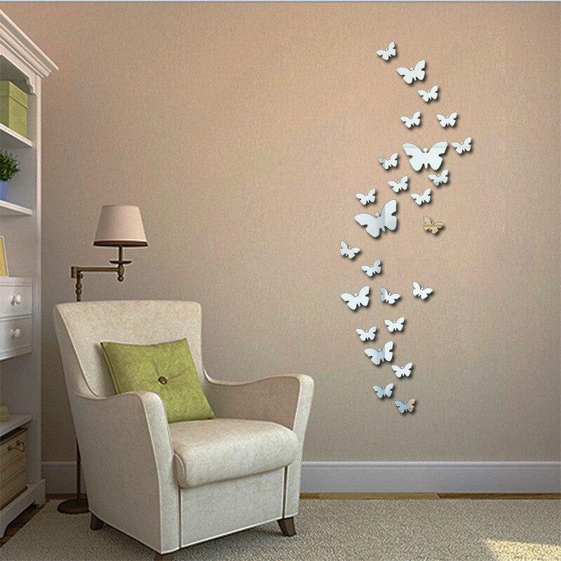 3 цвета, новые настенные часы с бабочкой, зеркальная поверхность, настенные наклейки для детской спальни, 3D, сделай сам, украшение на стену, съемное искусство|Декоративные зеркала|Дом и сад - AliExpress