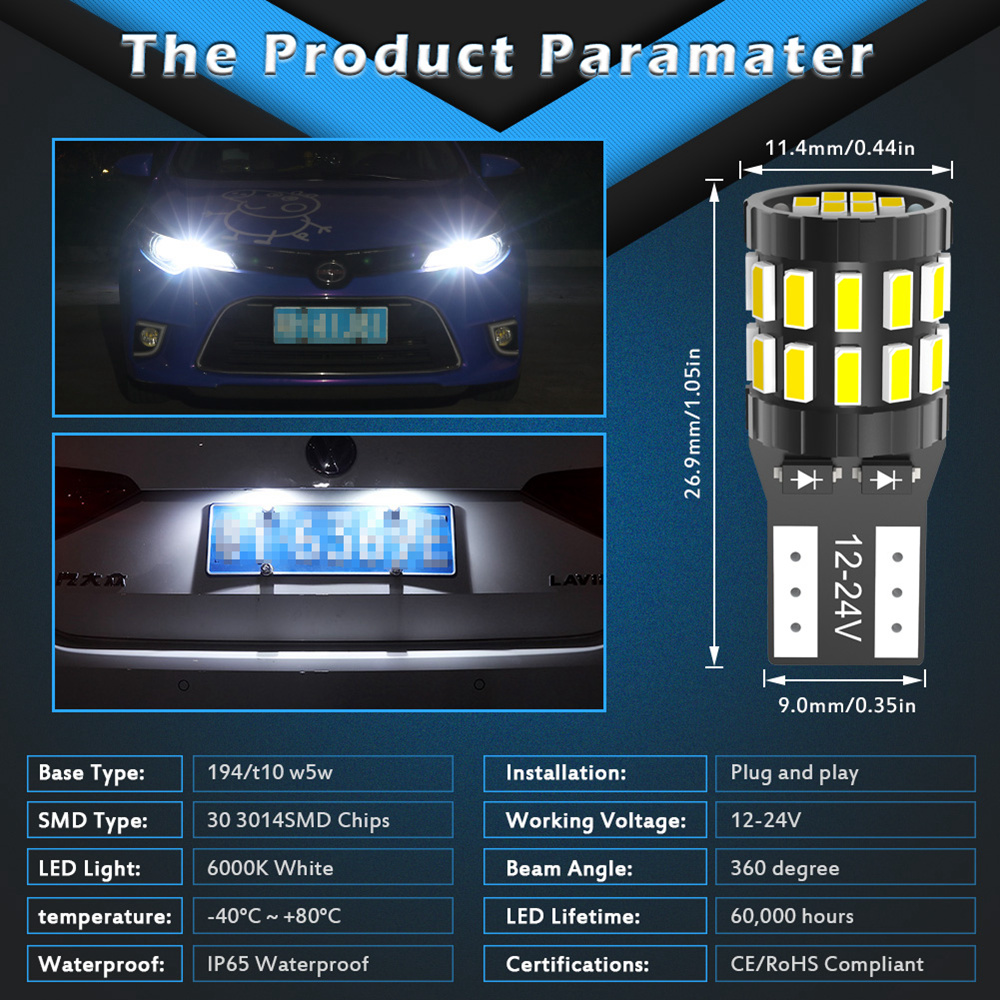 2pcs W5W T10 LED Bulbs Canbus For Car Parking Position Lights Interior Light For BMW VW Mercedes Audi A3 8P A4 6B BMW E60 E90 5