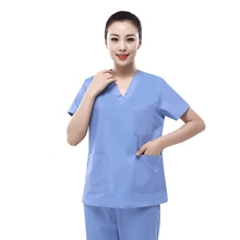 Cotton Sky Blue Suit For Female Surgeons Washing Handwear Operating Room Brushing Beautician Hospital Workwear