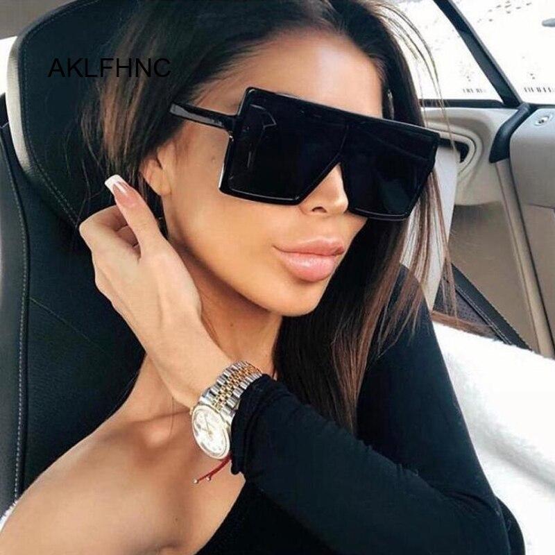 Flat Top Oversize Square Sunglasses Women Fashion Retro Gradient Sun Glasses Leopard Big Frame Vintage Eyewear UV400