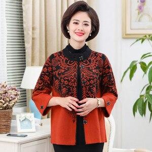 UHYTGF женский свитер однобортный вязаный кардиган женский осенний свитер пальто с воротником-стойкой свободный 4XL плюс размер свитера 815