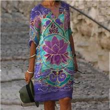 Women Shift Dress Knee Length Dress - Half Sleeve Floral Color Block Summer Fall V Neck Casual Hot vacation dresses Loose 2021