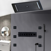 6 Functions Black Shower Set Column Concealed Showerhead Rainfall Misty Waterfall Body jets Thermostatic High Flow Mixer