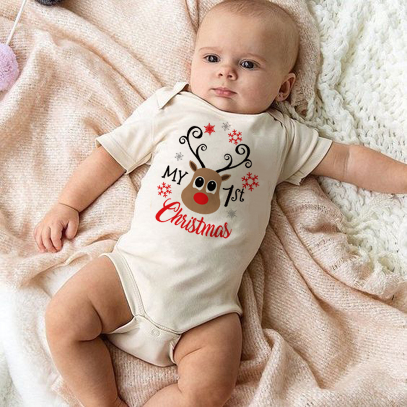 Newborn My First Christmas Print Baby Bodysuit Cotton Infant Boy Girl Soft Short Sleeve Party Dress Jumpsuit Baby Funny Clothes