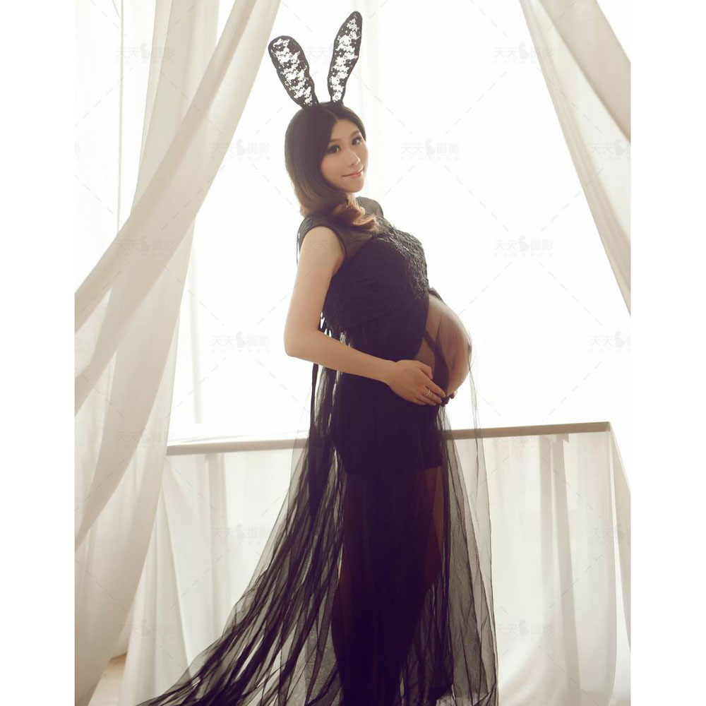 Bunny Girl Maternity Dresses For Photo Shoot Clothes Maternity Photography Props Pregnancy Dress Photography Long Lace Vestidos