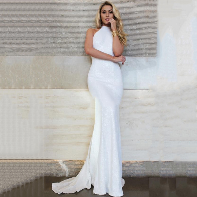 Eightree 2020 Wedding Backless Beach Wedding Dress Mermaid High Neck Bridal Vestido De Noiva Gelinlik Arabic Mariee Shinny Gown