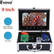 Eyoyo EF09 9″Inch HD 1000tvl Underwater Fishing Video Camera Kit 15 PCS White LEDs + Infrared Lamp Video Fish Finder