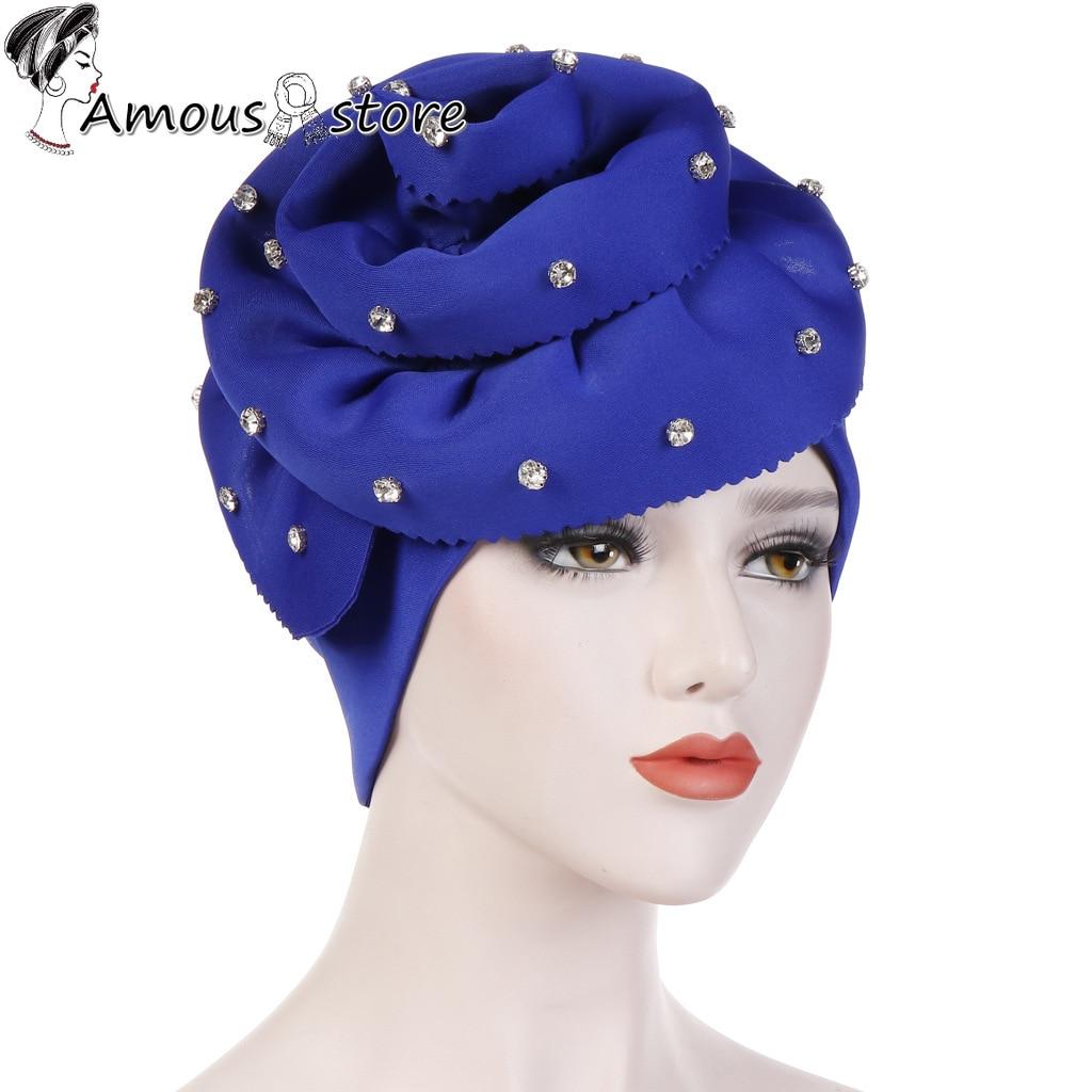 Diamonds Type Fashion Women Flower Ruffle Muslim Turban Big Flowers Headband Hijab Caps Islamic Wear For Women