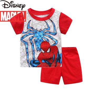 Oryginalny Disney Marvel bawełna dziecięca piżama z krótkim rękawem dwuczęściowy zestaw chłopięcy piżamy z nadrukiem odzież dla chłopców w domu tanie i dobre opinie 4-6y 7-12y COTTON CN (pochodzenie) Lato Kobiet W stylu rysunkowym Babies