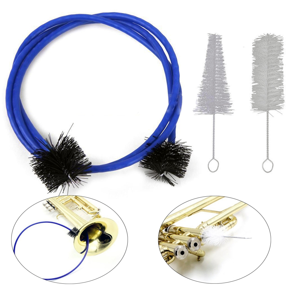 The 3-piece Set For The Trumpet Trombone Brass Blowing Nozzle Cleaner Valve Brush Rod Cleaning Kit Musical Instrument Accessorie