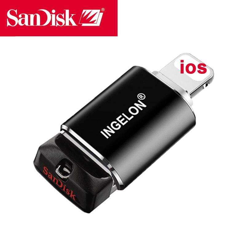 Movimentação da pena do adaptador do relâmpago de sandisk 64 gb para o iphone 11x8 7 mais 6 6s 5 se ipad ipod pendrive
