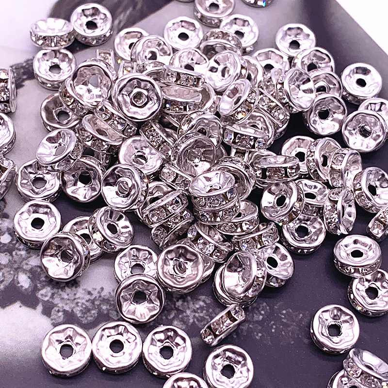 6/ 8/10mm White Crystai Rhinestone Glass Round Loose Spacer Beads For Jewelry Making DIY Bracelet Accessories