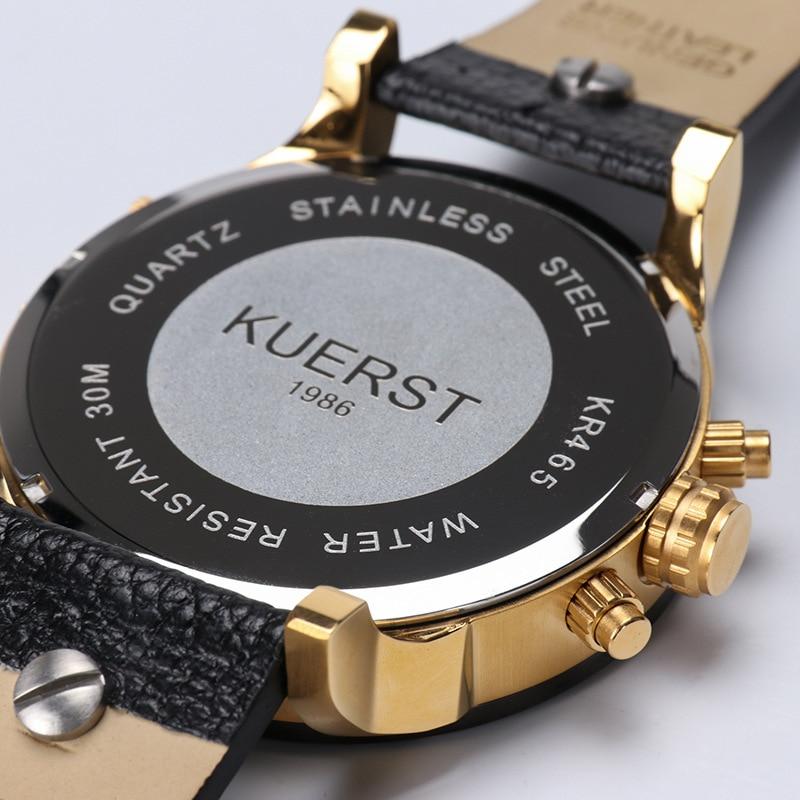 KUERST Mens Oro Orologio di Lusso di Marca Impermeabile Sport cronografo Al Quarzo orologi Orologio Quattro Fuso Orario Orologio Da Polso Da Uomo 2019 - 6