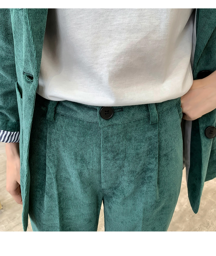 Autumn Winter Blazer Pants Suit Women Korean Chic Fashion Office Ladies Green Corduroy Casual High Waist Small Feet Pants Suit 57