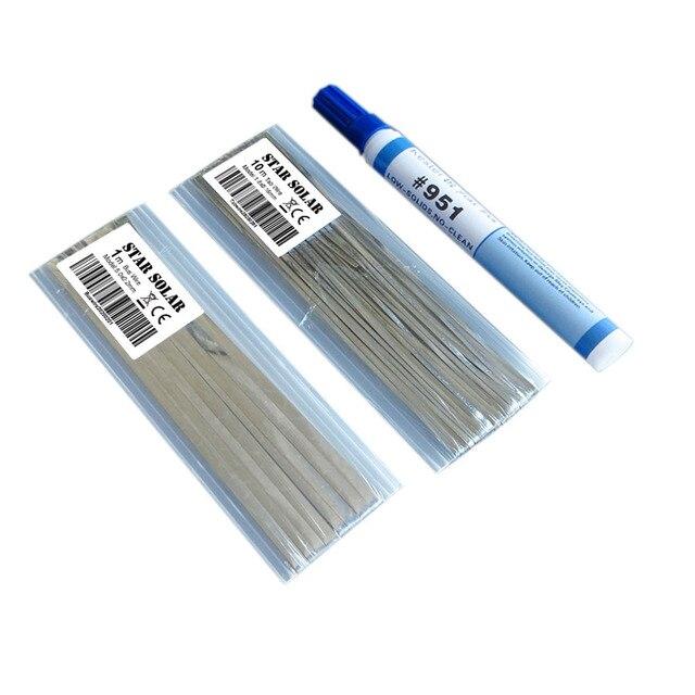 سلك علامة تبويب 10 متر + 1 متر سلك ناقل شريط PV + 1 قطعة 951 قلم تدفق روزين لحام لوحة الخلايا الشمسية لحام ذاتي الصنع