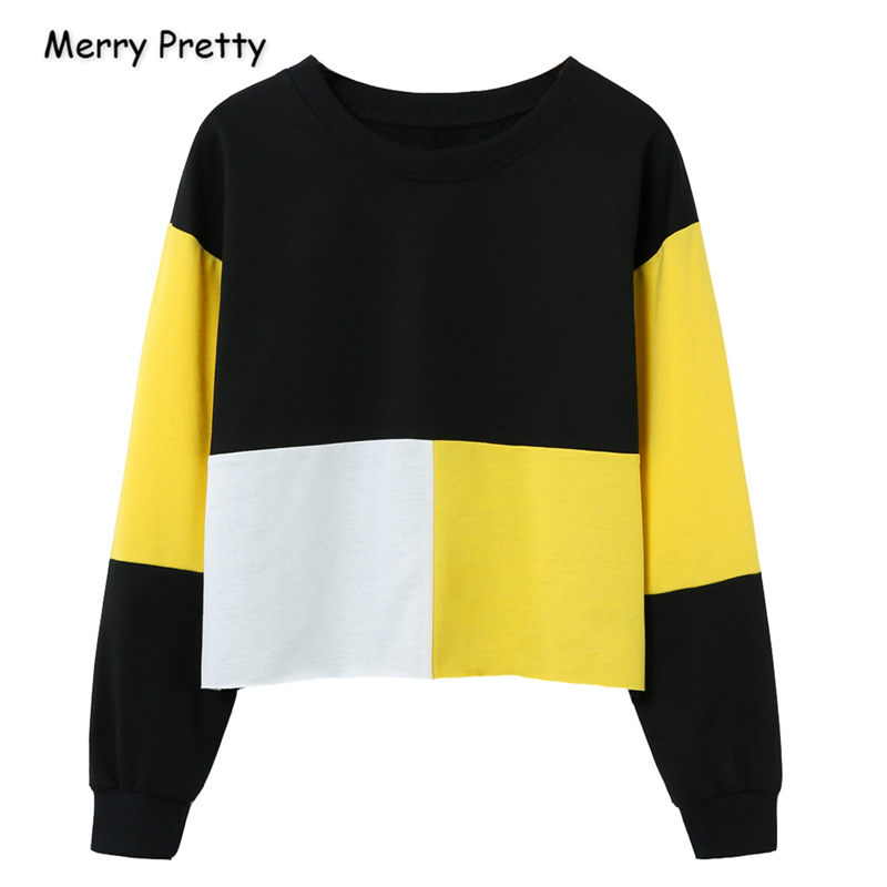 Merry Pretty Women's Patchwork Contrast Color Hoodies Sweatshirts 2019 Winter Long Sleeve O-Neck Pullovers Loose Tracksuit
