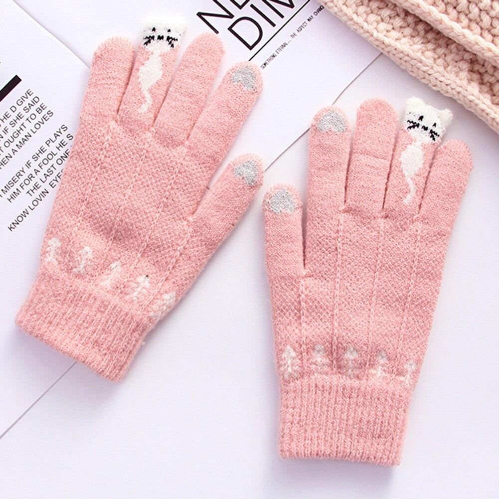 Warm Winter Knitted Full Finger Gloves Mittens Women Cute Cartoon Cats Touchable Screen Gloves Handschoenen Guantes Gloves 4