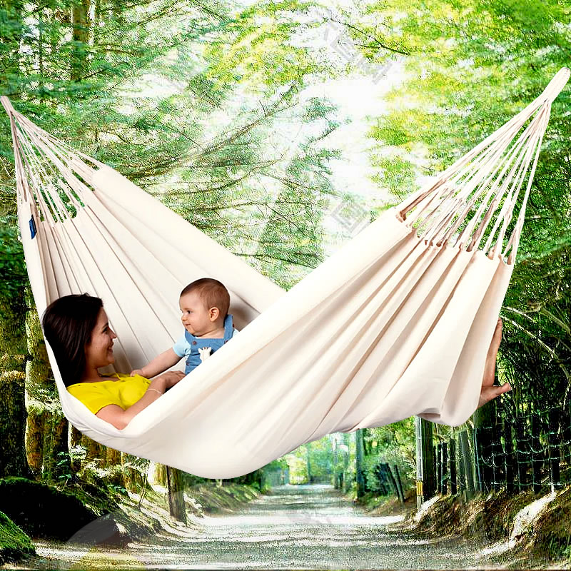 Hanging-Bed Sleeping-Swing-Hammock Hammock Outdoor Canvas Striped Camping 2-Persons