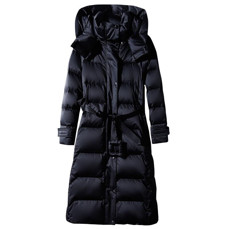 Women's Long Lace-up Hooded Down Jacket Zipper Puffer Black red dark blue plus size 4XL10XL Coat