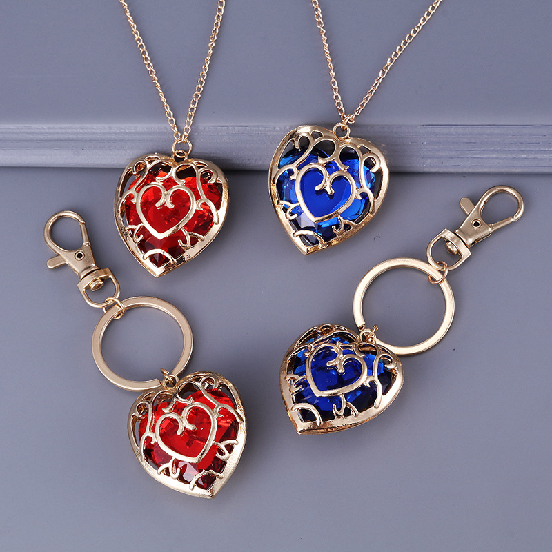 Game The Legend of Zelda Cosplay Blue Heart Necklace Pendant jewelry Red Heart-shaped keychain image