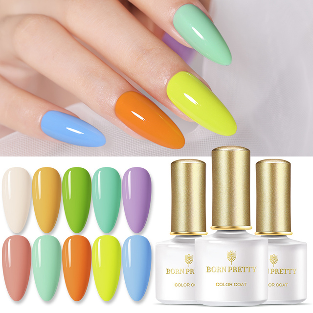 BORN PRETTY 50 Colors Spring and Summer Gel Nail Polish Freshed Pure-Color Nail Gel Colorful Soak Off Nail Art Gel Polish 6ml 1