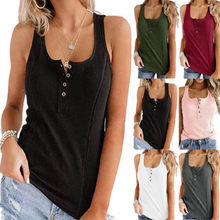 Women's Summer Solid Stretch Tank Tops Ladies Buttons Sexy V-Neck Tops Fashion Vest Camisole Casual Sleeveless Female Tops