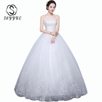 Floor Length Wedding Dresses Skyyue ER674 Strapless Lace Wedding Dress For Women Embroidery Sleeveless Plus Size Vestido Fiesta