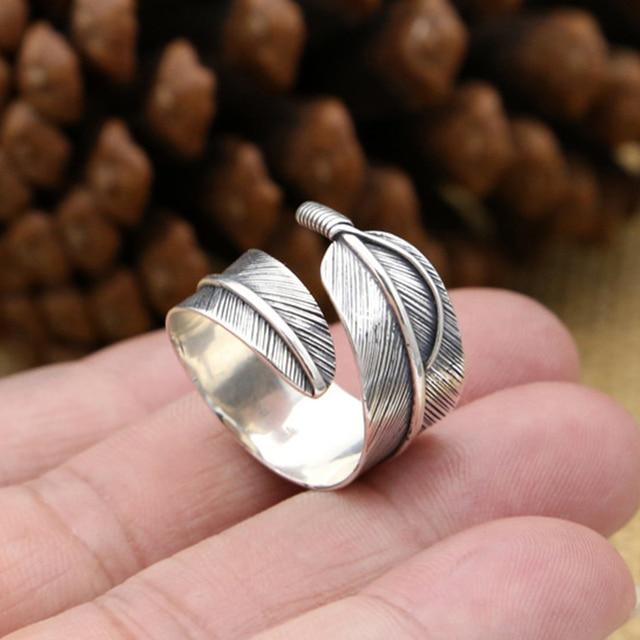 100% solidna 925 srebrny pierścień OpenTakahashi Goros Feather biżuteria dla kobiet mężczyzn
