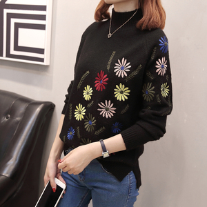 Image 3 - Neploe New Autumn Winter Sweater Elegant Floral Embroidery Pulover Long Sleeve Causal Jumper Female Loose Knitwear Tops