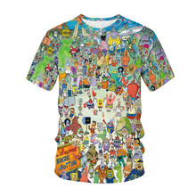 Summer New Cartoon Animation Sponge Movie 3D Printing Men's and Women's T-shirts Children's Fashion Casual Cool Tops