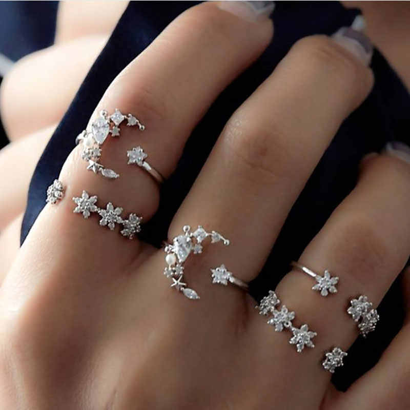 5pc/lot Ring Women Girl Vintage Star Moon Silver Ring Crystal Knuckle Personality Ring Stainless Steel Rings for Women