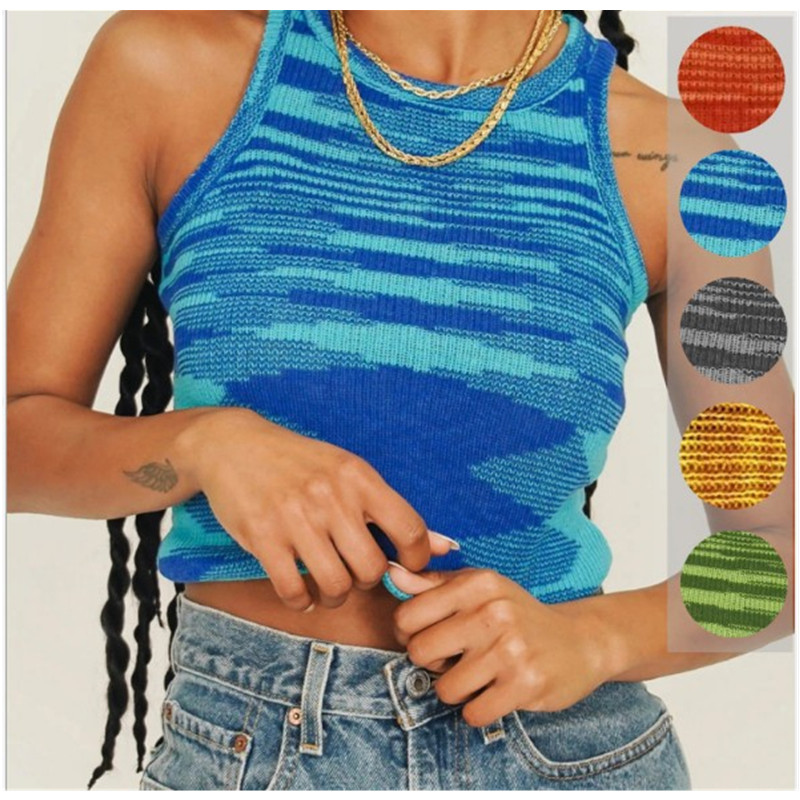 The New Summer 2021 Hot-Selling Fashion Personality Women's Slim Color Stripe Trend Round Neck Short Top Casual Vest