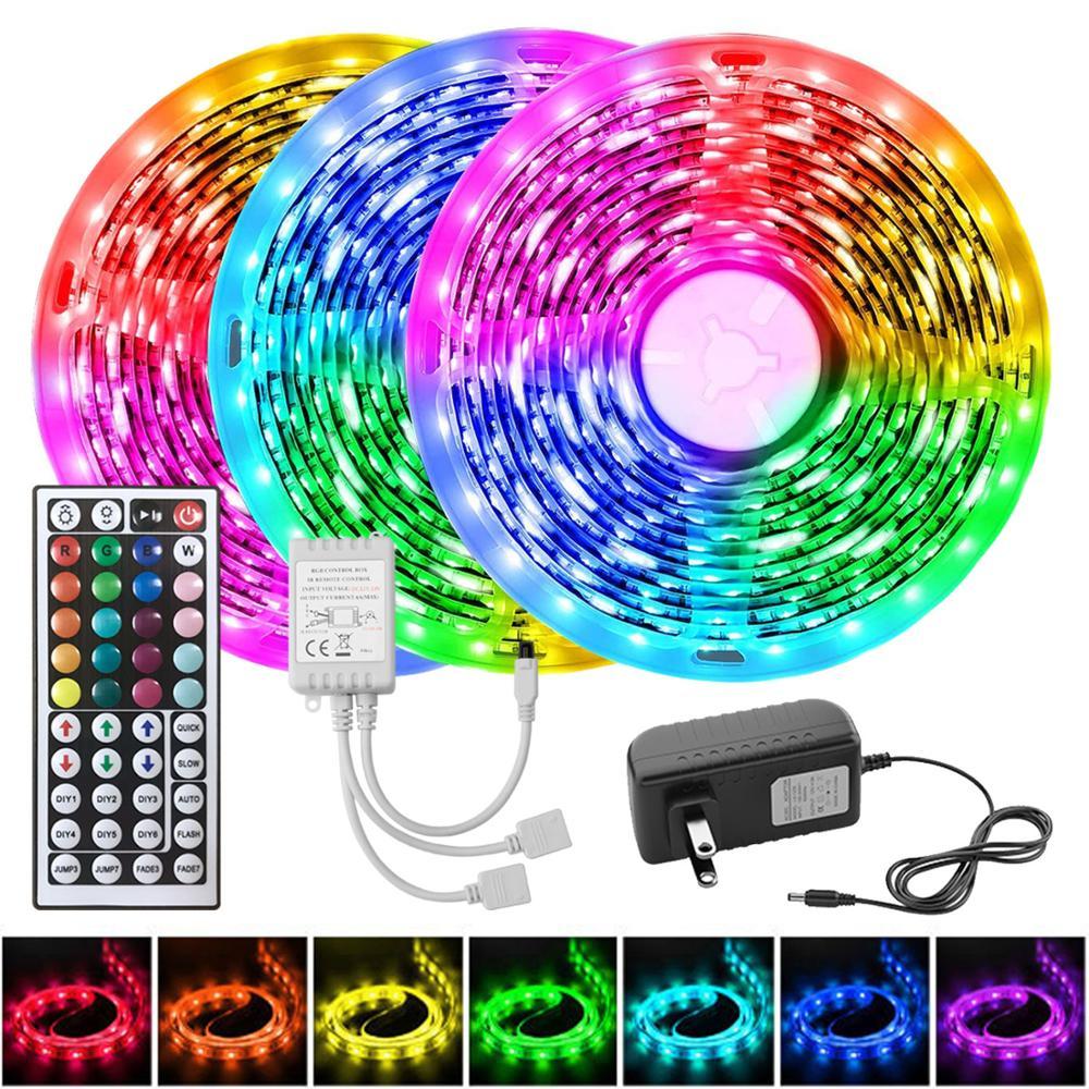 Цветная (RGB) 5050 Светодиодные ленты светильник с пультом дистанционного управления Управление DC 12V гибкая лента 5 м ленты LED диод + адаптер Свет...