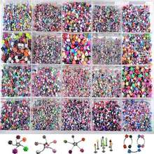 110pcs Multicolor Body Piercing Jewellery Mixed Lip Eyebrow Belly Tongue Bar Ring Sexy Vintage Body Piercing For Women Men(China)