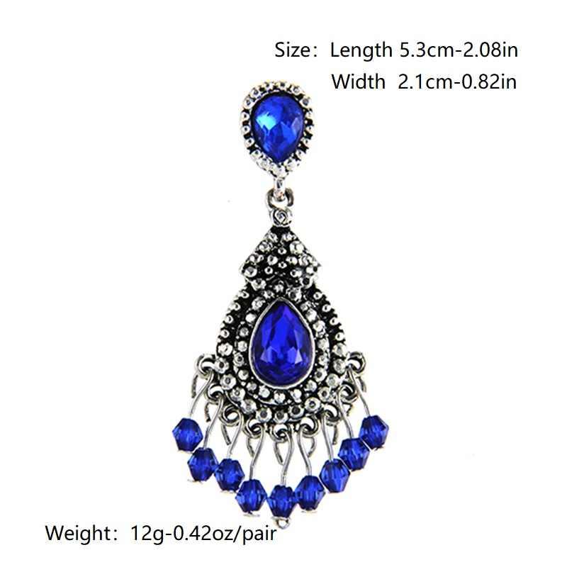 Carter lisa azul/prata cor lustre de cristal brincos longos para as mulheres strass pendurado brincos de casamento nupcial jóias