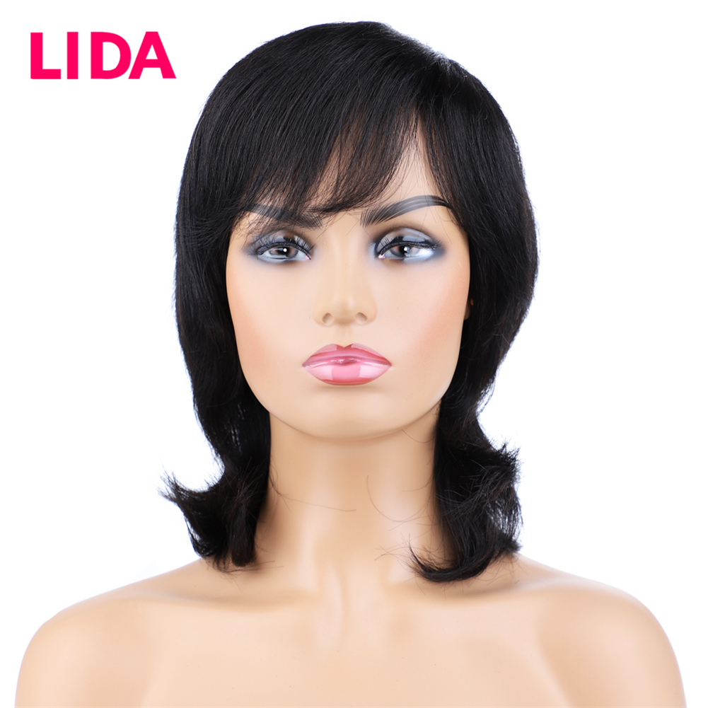 Lida Brazilian Short Human Hair Wigs Straight Remy Short Wig 100% Human Hair Machine Made Wig For Black Women