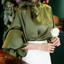 Vintage Plus Size Tops Amy Green Bow Long Lantern Sleeve Womens Fashions Office Work Elegant Loose Spring Autumn Blouse ask amy green wedding belles