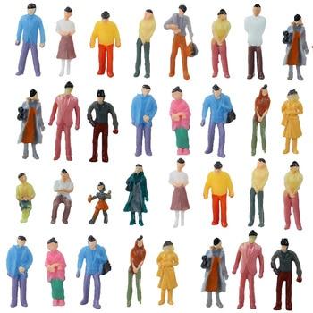 HO N Scale Model Figure Miniature People Train Street Passengers For Building Landscape Railway Scenery Layout 30pcs model railway train lamp led 3v street lamppost 7cm ho oo scale for park scenery decoration