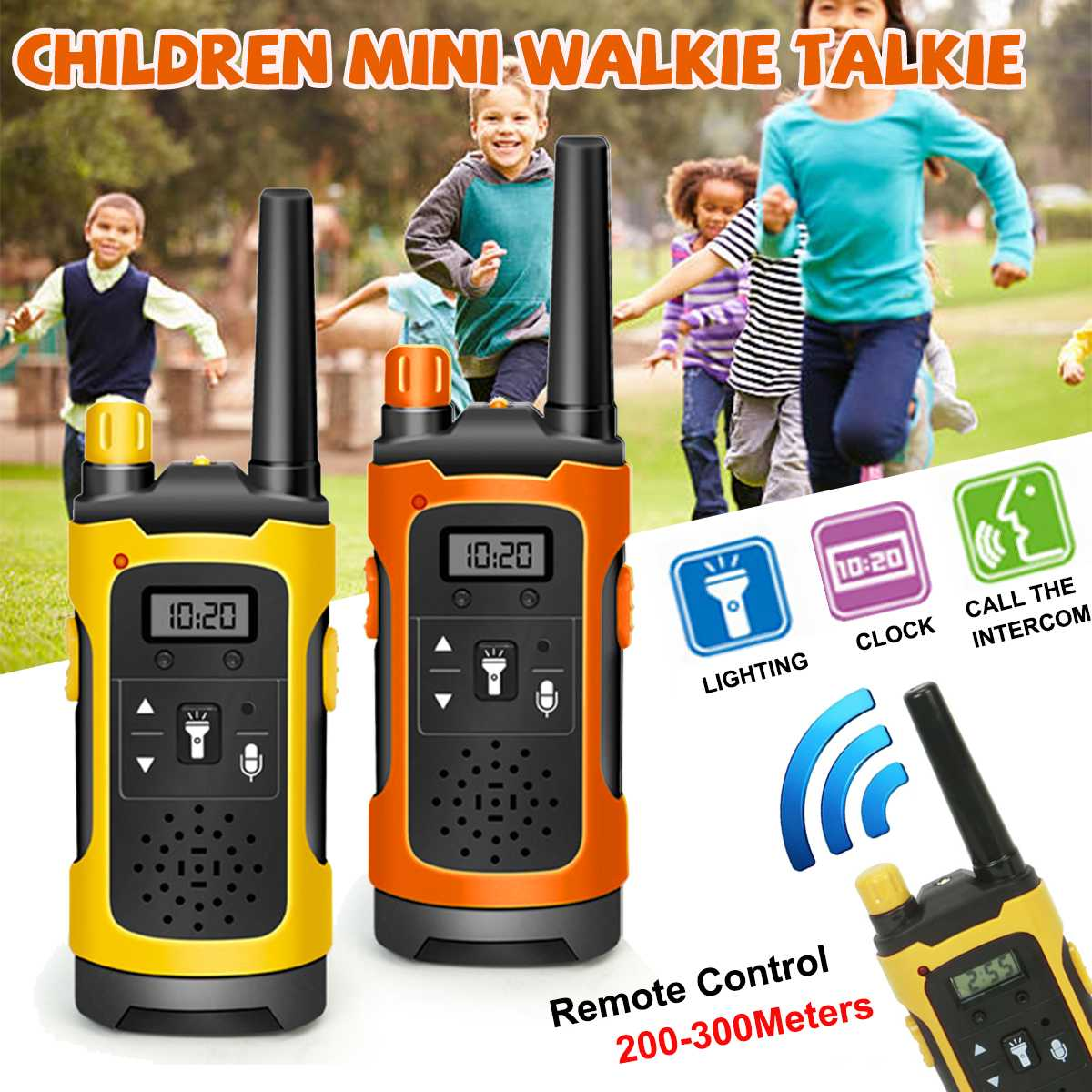 2pcs Mini 200-300M Kids Walkie Talkies Toy Child Electronic Radio Voice Interphone Toy Outdoor Wireless Walkie Talkies Toy